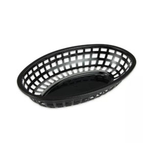 Top view of a plastic oval bread basket.
