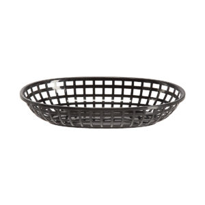 Side view of an oval plastic bread basket.