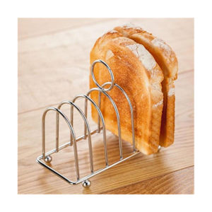 A chrome toast holder with two pieces of crispy toast.