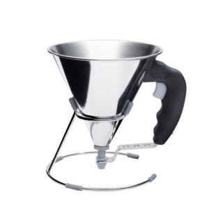 A mini stainless steel decanting funnel by De Buyer.