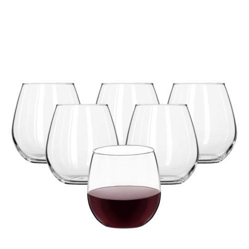 6 Tuscany stemless wine glasses.