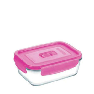 380ml glass oven proof lunch box with pink lid.