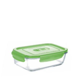 380ml glass oven proof lunch box with green lid.