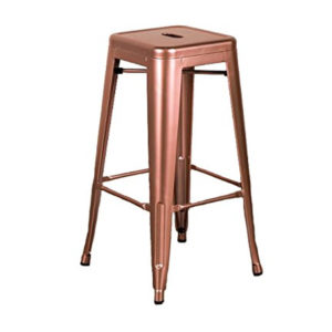 A rose gold metallic bar stool.