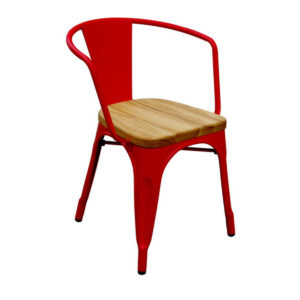A matte tolix chair with arms in red.
