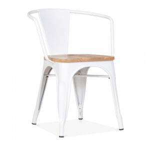 A matte tolix chair with arms in white.