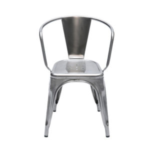 A metallic tolix chair with arms.