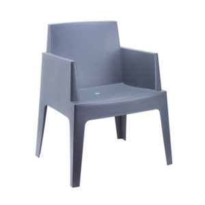 A block chair in grey.